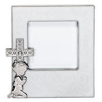 Enameled Photo Frame with Cross