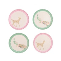Bamboo 4 pk Plates - Peacock and Doe