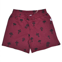 Burgundy Boys Short with Mushrooms