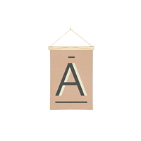 Linen Print Banners Charcoal A on Peach