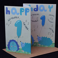 Happy Birthday Card - 1st Hedgehog