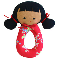 Audrey Grab Rattle - Red Floral