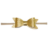 Soft Headband with Faux Leather Bow - Gold