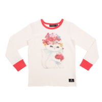 Floral Cat L/S T-Shirt - Oatmeal