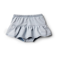 Dusty Blue Nappy Pant With Ruffle