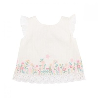 Flora Embroidred Top - Cloud