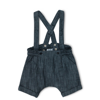 Hank Denim Short Overalls - Black Denim