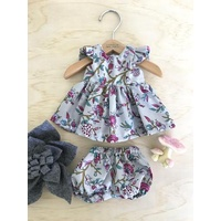 Stephanie Dress Set - Deep Pink Blooms On Grey