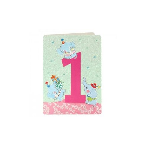 Number 1 Card - Elephant