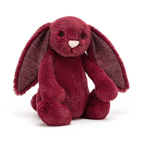 Jellycat Medium Bashful Sparkly Cassis Bunny - Berry Red