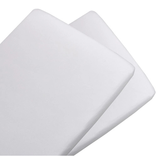 2 x Pack Fitted Bassinet Jersey Sheets - White