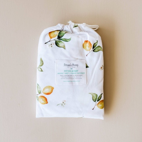 Fitted Bassinet Sheet/Change Pad Cover - Lemon