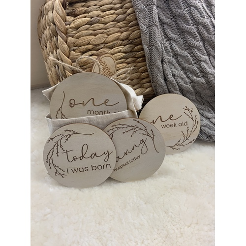 Wooden Month Milestone Discs - Whimsical