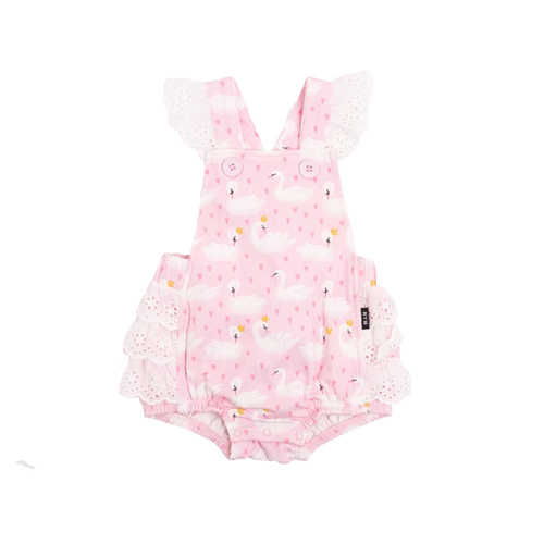 Swannie Lace Frill Romper - Pink