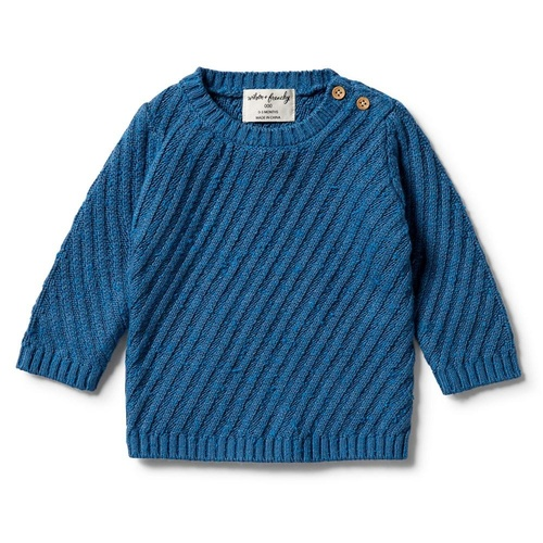 Knitted Jacquard Jumper - Denim Fleck