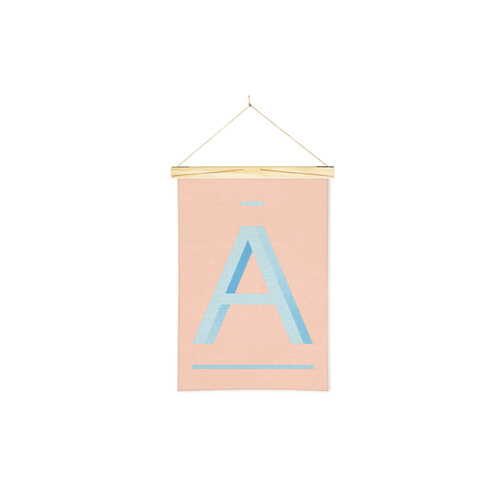 Linen Print Banner Blue A on Peach